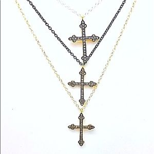 Diamond Cross Necklace Chain in Three Finishes NWT
